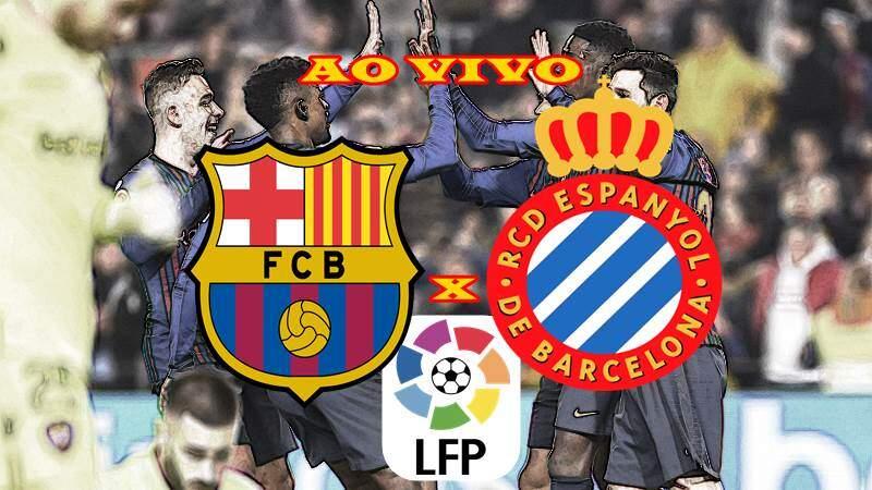 Barcelona e Espanyol ao vivo. Foto/Montagem