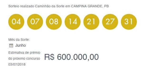 Loteira Dia de Sorte: bolada do concurso 18 sai para Jaguaquara na Bahia / Imagem Captura Loterias Caixa