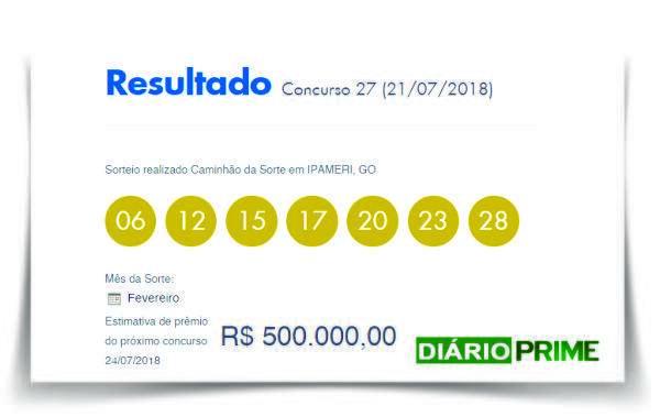 Resultado da Dia de Sorte concurso 27 de sábado 21 de julho de 2018/ Imagem de criação Diário Prime/Loterias Caixa