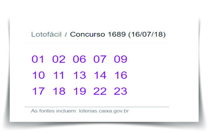 Confira o última resultado da Lotofácil pelo Concurso 1689