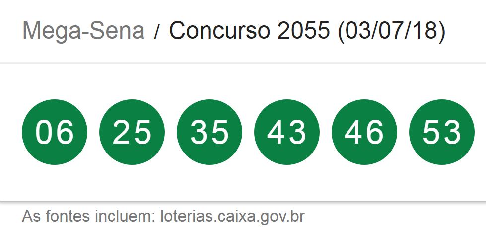 Resultado da Mega-Sena, concurso 2055/ Imagem de captura da Loterias Caixa