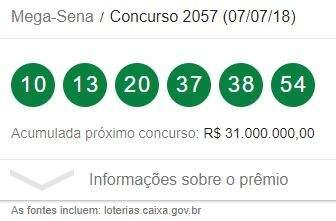 Sorteio da Mega-Sena concurso 2057: confira tabela de prêmios deste sábado (07)