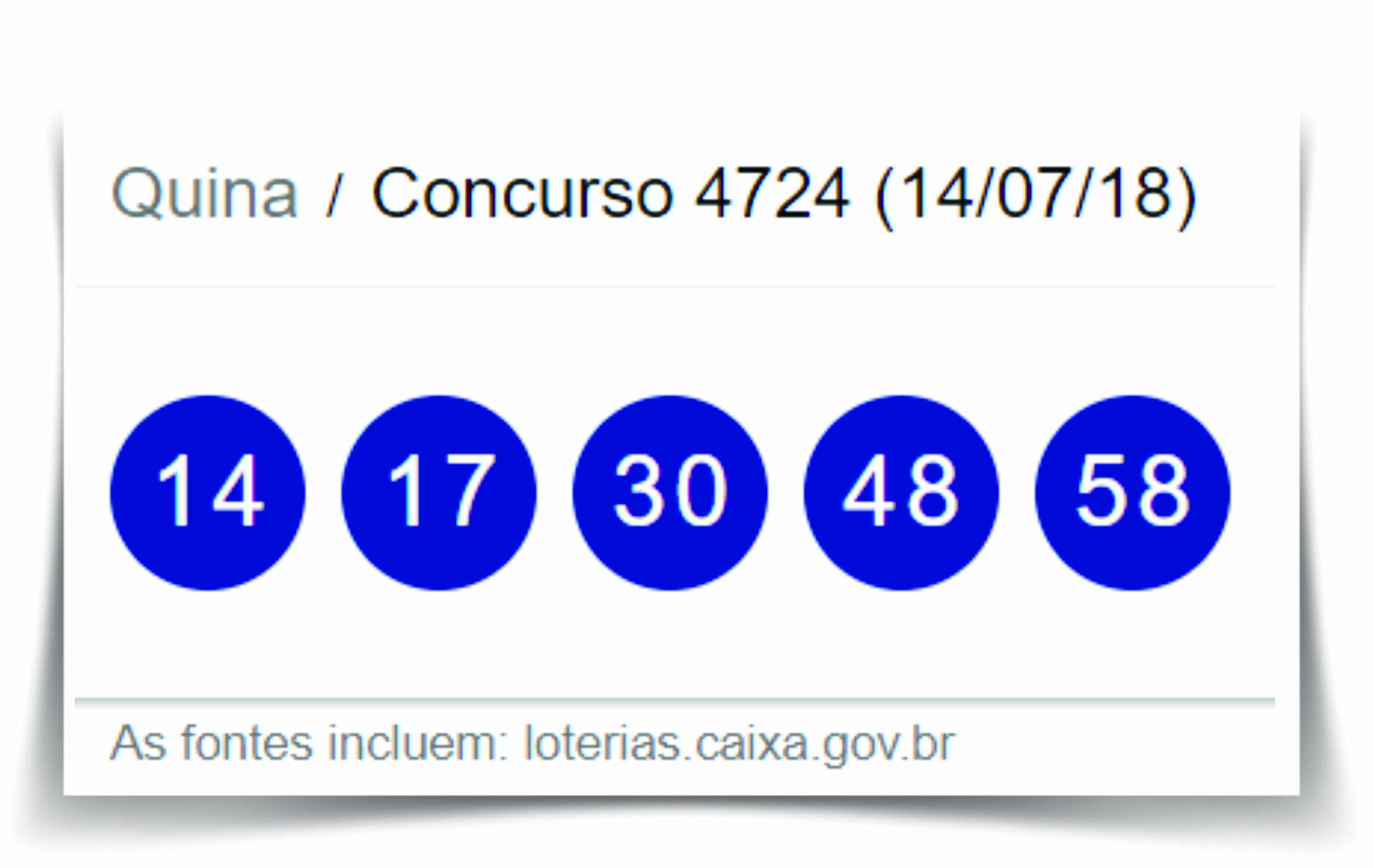 Resultado da Quina Concurso 4724 / Loterias Caixa