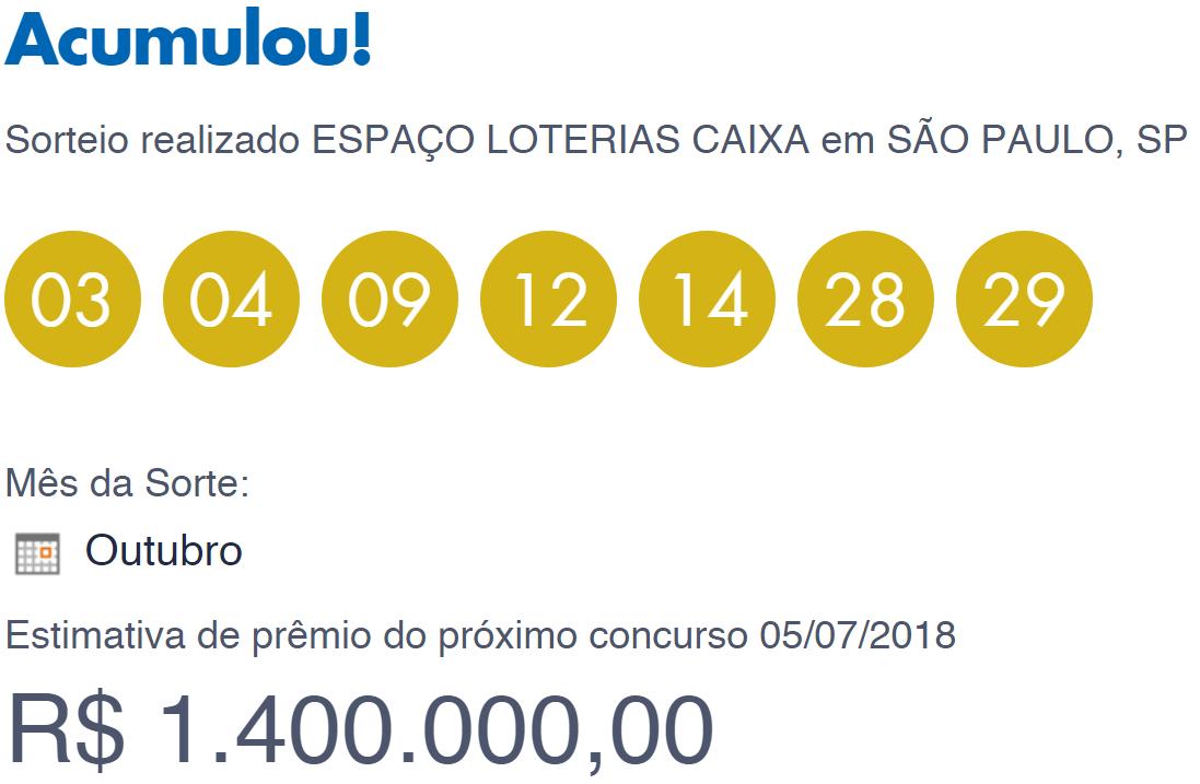 Resultado da Dia de Sorte/ Imagem de captura da Loterias Caixa