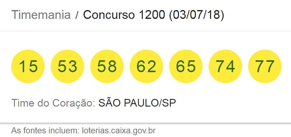 Resultado da Timemania, concurso 1200/ Imagem de captura da Loterias Caixa