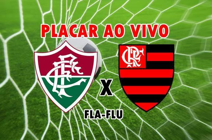 Placar do jogo Fluminense x Flamengo ao vivo online. foto/Montagem