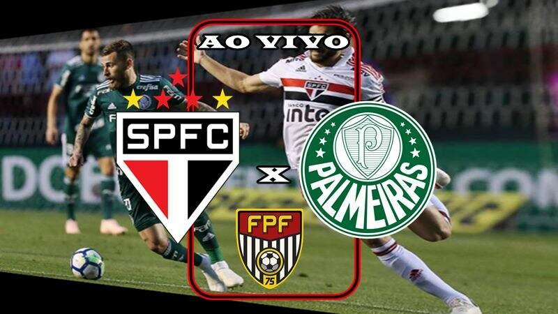 Jogo do São Paulo x Palmeiras ao vivo. Foto/Montagem