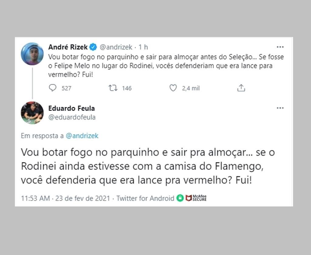 Rizek sobre Flamengo: polêmica antes da última rodada do Brasileirão. Imagem: Reprodução Twitter