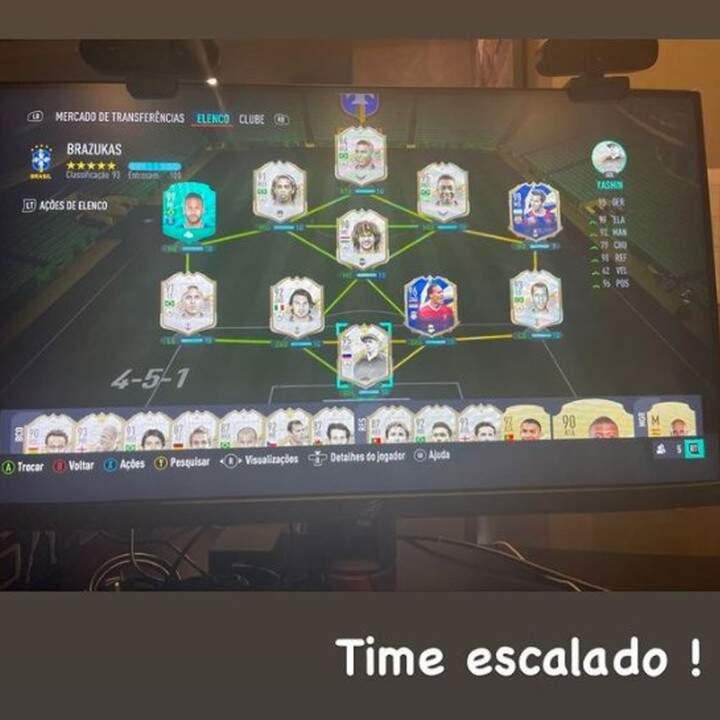 Neymar gamer? Confira a escalação do time do craque no jogo FIFA. Imagem: Reprodução Instagram @neymarjr